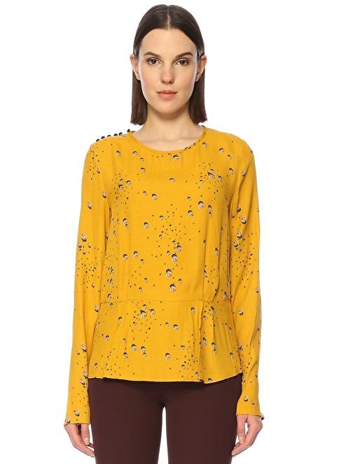 Noa Noa Bisiklet Yaka Tek Omuz Düğme Kapatmalı Desenli Bluz Sarı